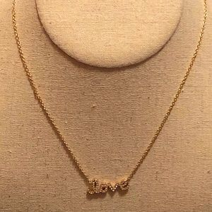 """LOVE"" Necklace Faux Diamond Crystal Necklace"
